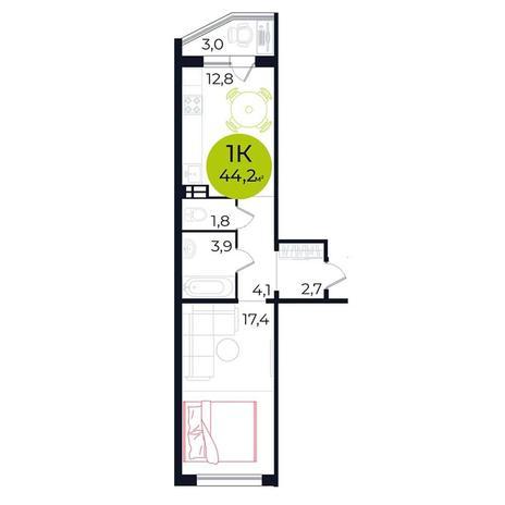 Вариант №5484, 1-комнатная квартира в жилом комплексе