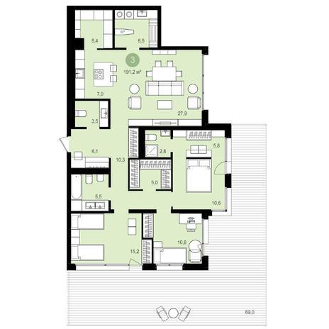 Вариант №4177, 4-комнатная квартира в жилом комплексе Авиатор