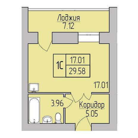 Вариант №3850, 1-комнатная квартира в жилом комплексе