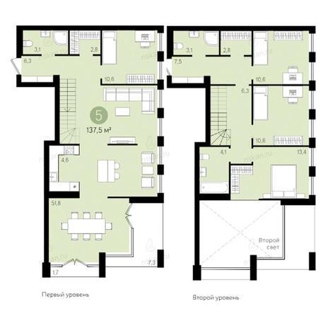 Вариант №2797, 4-комнатная квартира в жилом комплексе Европейский Берег