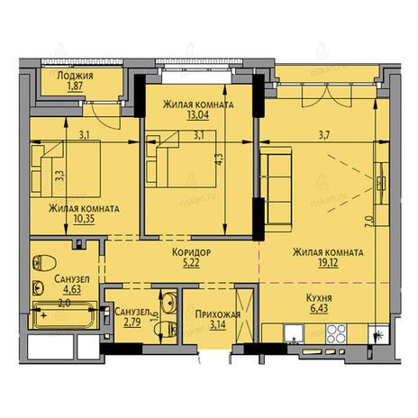 Вариант №2692, 3-комнатная квартира в жилом комплексе