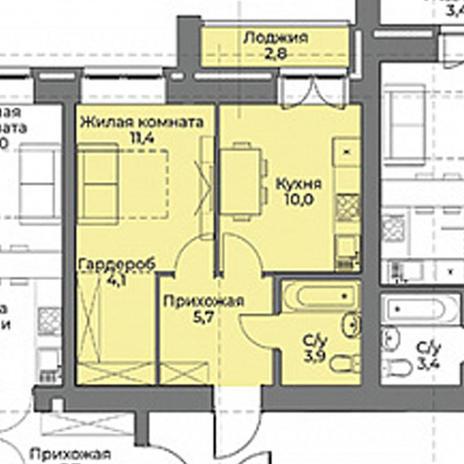 Вариант №3963, 2-комнатная квартира в жилом комплексе Солнечные часы