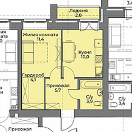 Вариант №3963, 2-комнатная квартира в жилом комплексе
