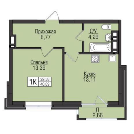 Вариант №5103, 1-комнатная квартира в жилом комплексе Цивилизация