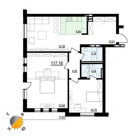 Вариант №900, 3-комнатная квартира в жилом комплексе Жуковка