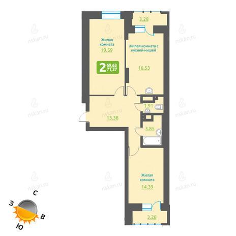 Вариант №1212, 3-комнатная квартира в жилом комплексе Марсель