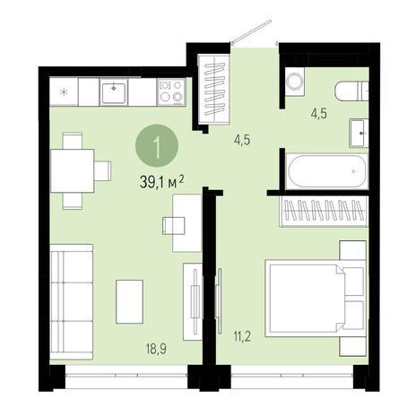 Вариант №4823, 2-комнатная квартира в жилом комплексе