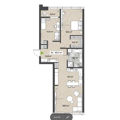 Вариант №5856, 3-комнатная квартира в жилом комплексе