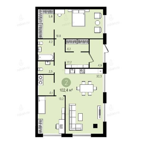 Вариант №2638, 3-комнатная квартира в жилом комплексе