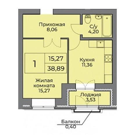Вариант №3537, 2-комнатная квартира в жилом комплексе