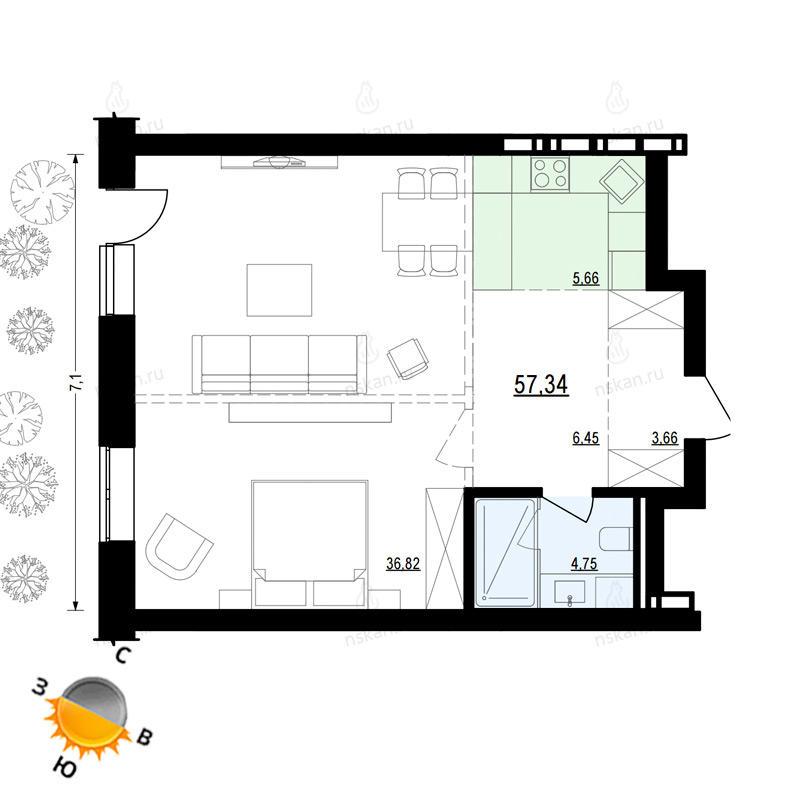 Планировка 1-комн. студия площадью 57.34 м<sup>2</sup> в ЖК Жуковка