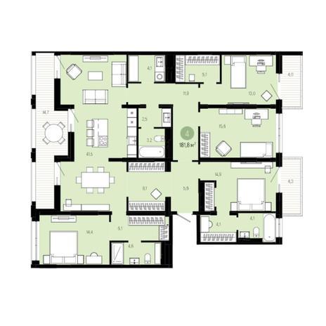 Вариант №6032, 5-комнатная квартира в жилом комплексе