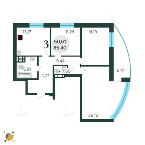 Вариант №2267, 3-комнатная квартира в жилом комплексе Оазис