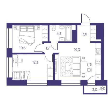 Вариант №5308, 3-комнатная квартира в жилом комплексе