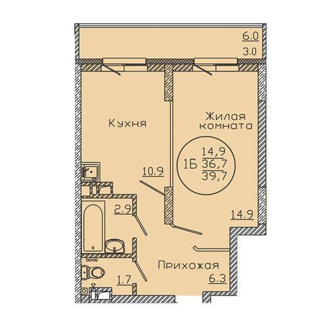 Вариант №3188, 1-комнатная квартира в жилом комплексе