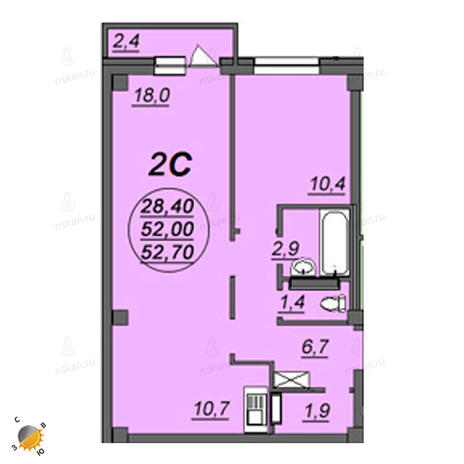 Вариант №2352, 2-комнатная квартира в жилом комплексе Аэропорт