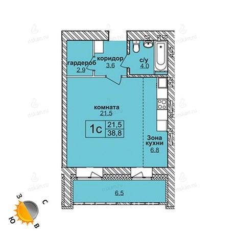 Вариант №1582, 1-комнатная квартира в жилом комплексе Северная корона