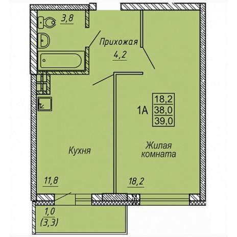 Вариант №5325, 1-комнатная квартира в жилом комплексе
