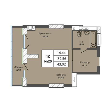 Вариант №2966, 1-комнатная квартира в жилом комплексе