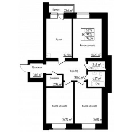 Вариант №4524, 3-комнатная квартира в жилом комплексе
