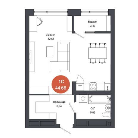 Вариант №4564, 1-комнатная квартира в жилом комплексе