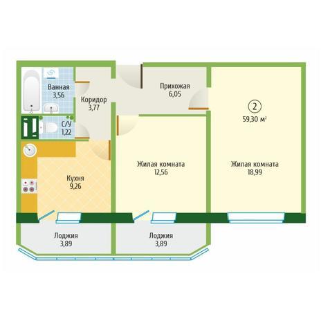 Вариант №6092, 2-комнатная квартира в жилом комплексе