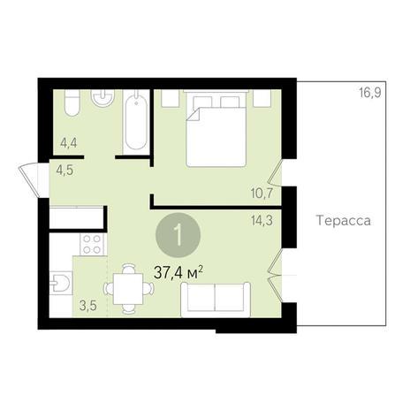 Вариант №3456, 1-комнатная квартира в жилом комплексе Дунаевский
