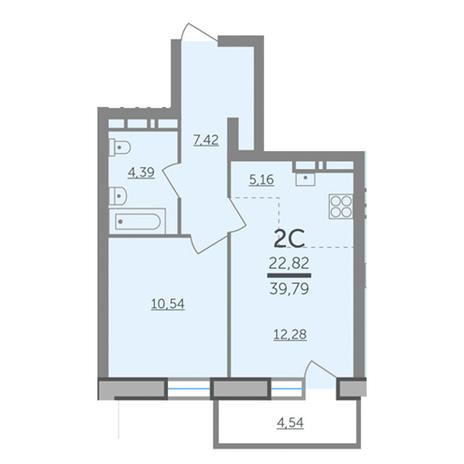 Вариант №2988, 2-комнатная квартира в жилом комплексе Оазис