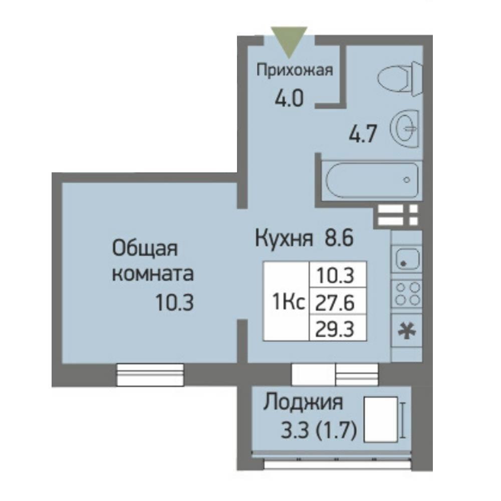 Планировка 1-комн. студия площадью 29.3 м<sup>2</sup> в ЖК Акварельный 3.0