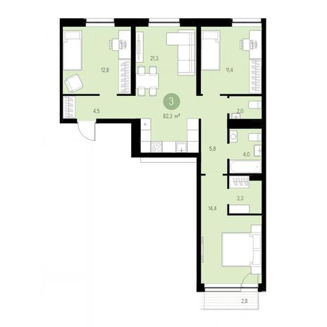 Вариант №4665, 4-комнатная квартира в жилом комплексе Европейский Берег