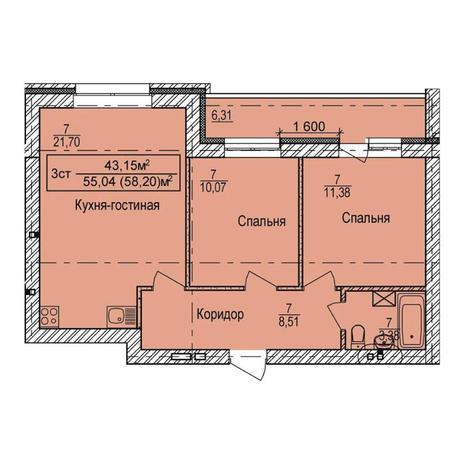 Вариант №3984, 3-комнатная квартира в жилом комплексе