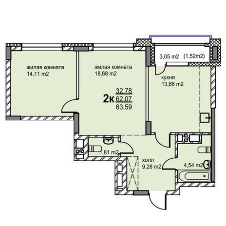 Вариант №5765, 2-комнатная квартира в жилом комплексе