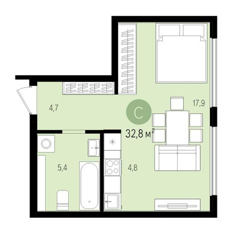 Вариант №5525, 1-комнатная квартира в жилом комплексе