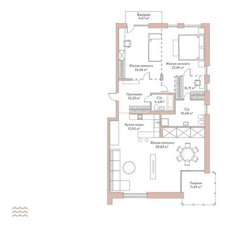 Вариант №5785, 3-комнатная квартира в жилом комплексе