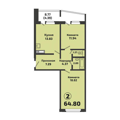 Вариант №3379, 2-комнатная квартира в жилом комплексе Ясный берег