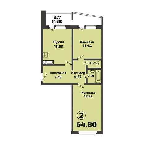 Вариант №3379, 2-комнатная квартира в жилом комплексе