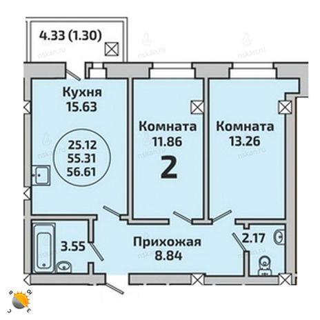 Вариант №1992, 3-комнатная квартира в жилом комплексе