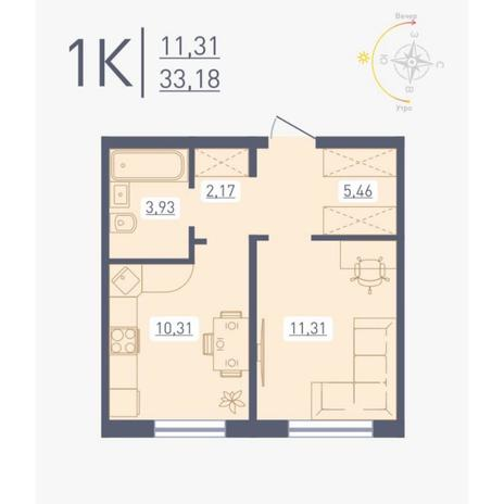 Вариант №4874, 1-комнатная квартира в жилом комплексе