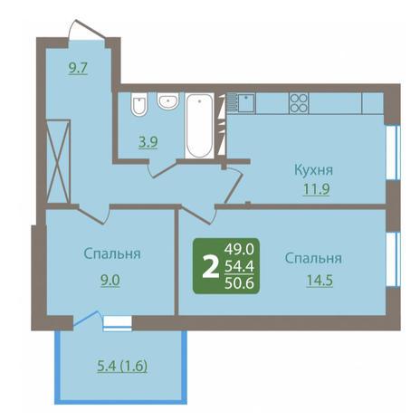 Вариант №3029, 2-комнатная квартира в жилом комплексе