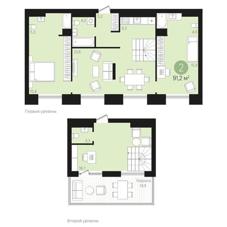 Вариант №4017, 3-комнатная квартира в жилом комплексе Европейский Берег