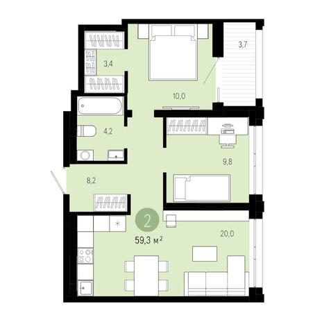 Вариант №4822, 3-комнатная квартира в жилом комплексе Европейский Берег