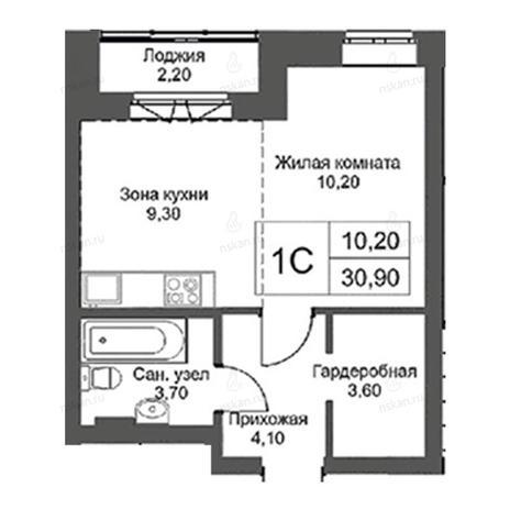 Вариант №2746, 1-комнатная квартира в жилом комплексе