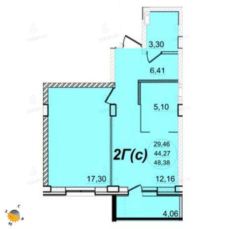 Вариант №1394, 2-комнатная квартира в жилом комплексе РэдФокс