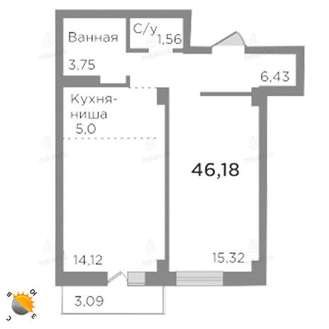 Вариант №1784, 2-комнатная квартира в жилом комплексе Ясный берег