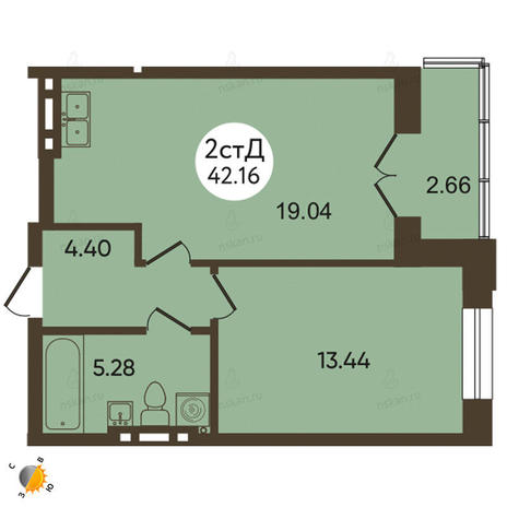 Вариант №2114, 2-комнатная квартира в жилом комплексе