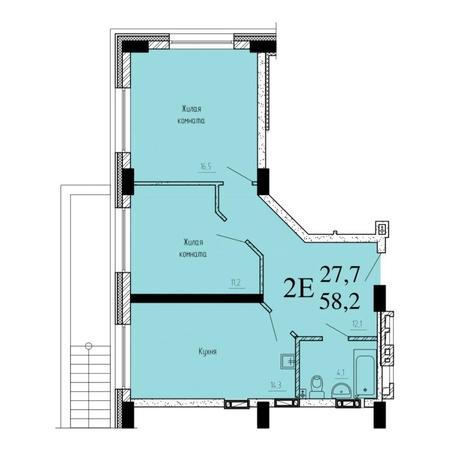 Вариант №6535, 2-комнатная квартира в жилом комплексе