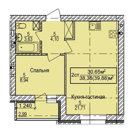 Вариант №5405, 2-комнатная квартира в жилом комплексе