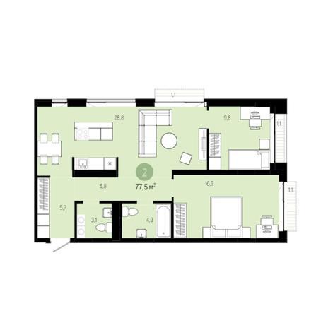 Вариант №6265, 3-комнатная квартира в жилом комплексе
