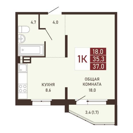 Вариант №3659, 1-комнатная квартира в жилом комплексе Виноград