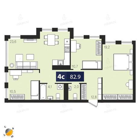 Вариант №1880, 4-комнатная квартира в жилом комплексе